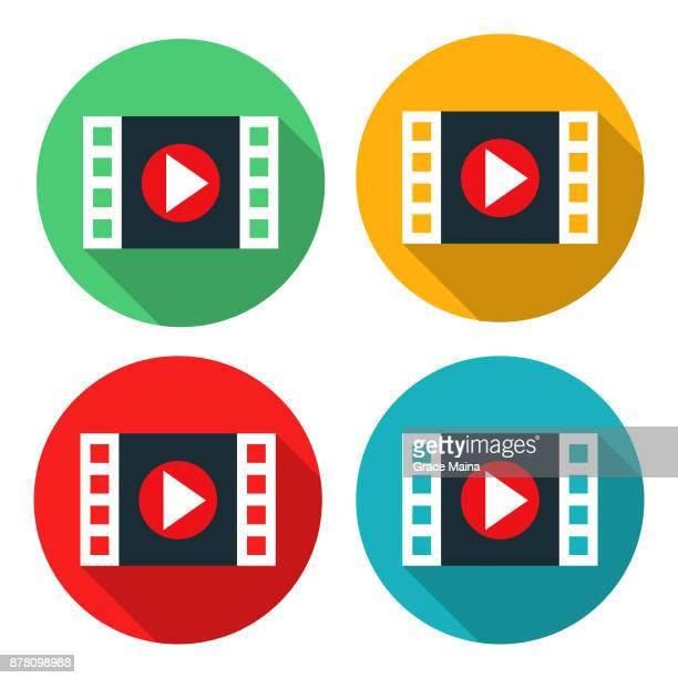 ビデオや映画の再生ボタン アイコン フラット グラフィック デザイン - ベクトル - bright 2017 film点のイラスト素材/クリップアート素材/マンガ素材/アイコン素材