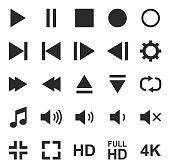 Video Or Music Or Camera Button Icons