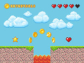 Video pixel game landscape with gold coins, white clouds and red hearts vector illustration