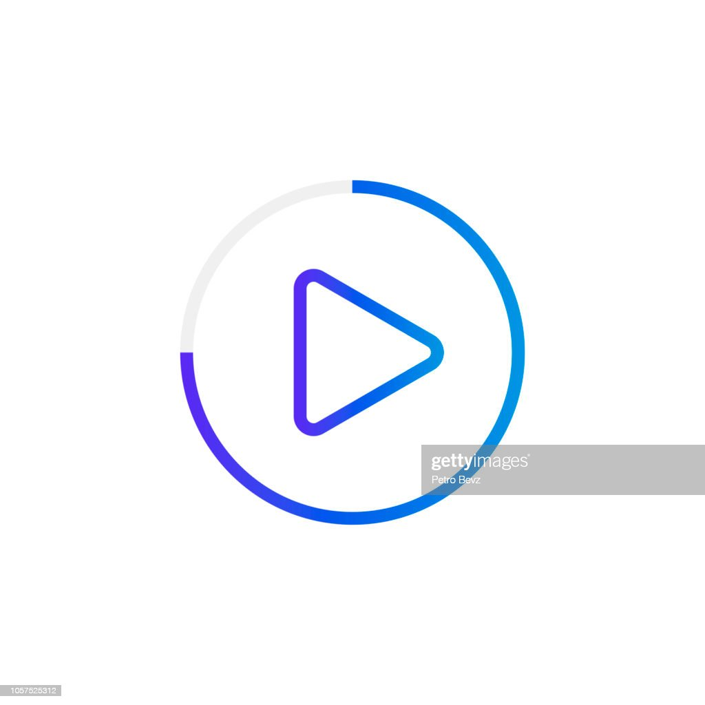 Video play button like simple replay icon. concept of watching on streaming video player or livestream webinar ui emblem. Modern vector illustration