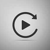 Video play button like simple replay icon isolated on grey background. Flat design. Vector Illustration