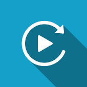 Video play button like simple replay icon isolated with long shadow. Flat design. Vector Illustration