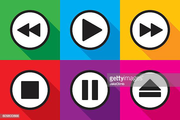 video playback icons set - resting stock illustrations