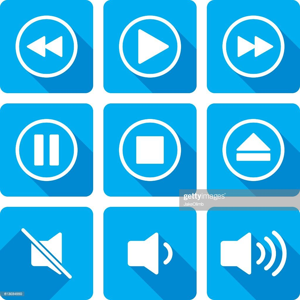 Video Playback Icons Silhouette Set