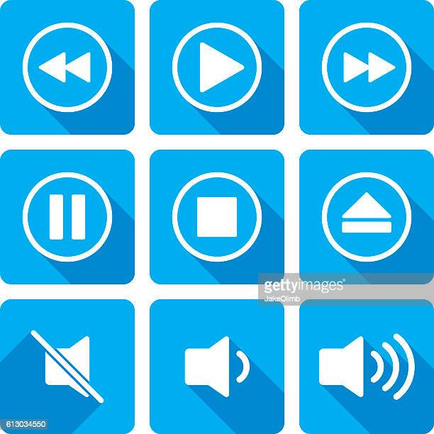 video playback icons silhouette set - resting stock illustrations
