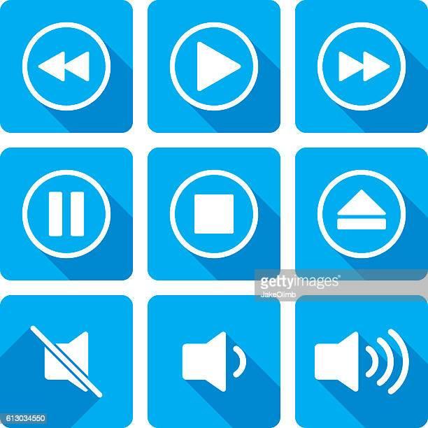 ビデオ再生アイコンシルエットセット - resting点のイラスト素材/クリップアート素材/マンガ素材/アイコン素材
