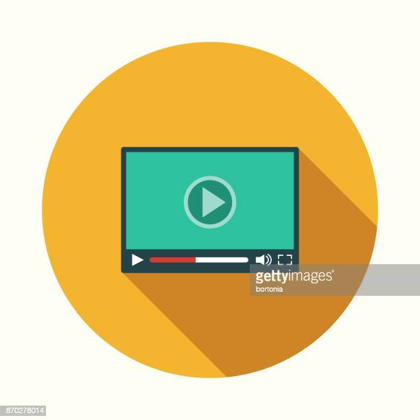 video player flat design communications icon with side shadow - volume unit meter stock illustrations, clip art, cartoons, & icons