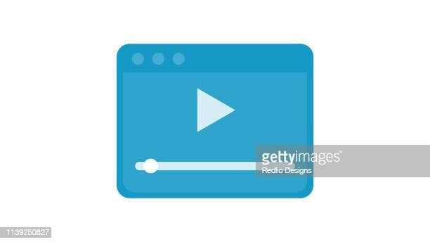 ilustraciones, imágenes clip art, dibujos animados e iconos de stock de reproductor de vídeo para web, diseño plano icon - rollo de cine
