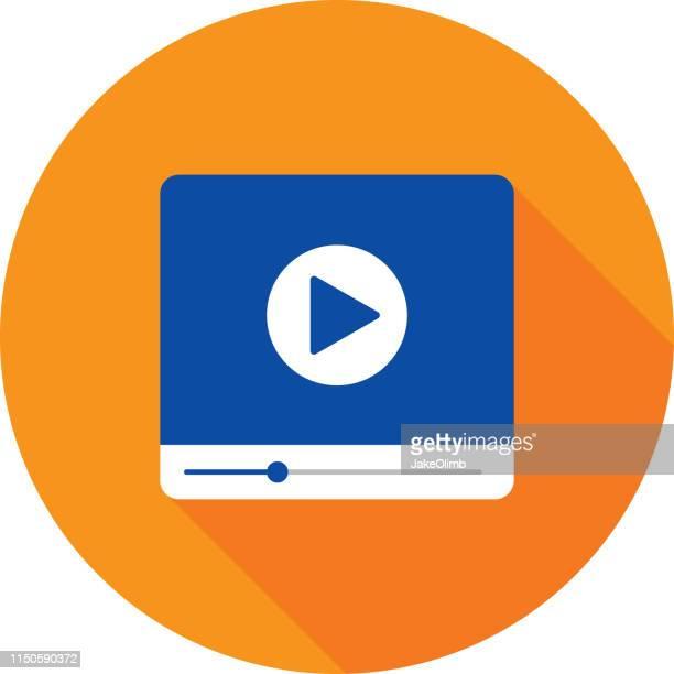 illustrazioni stock, clip art, cartoni animati e icone di tendenza di video player icon flat - video