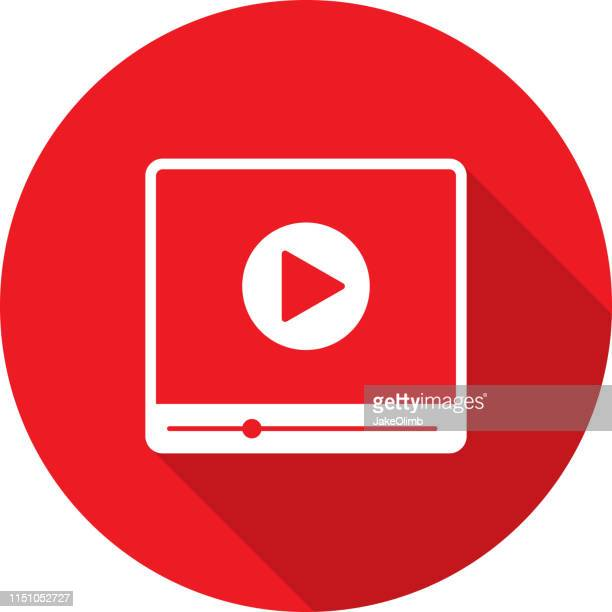 video player icon silhouette - high definition television television set stock illustrations