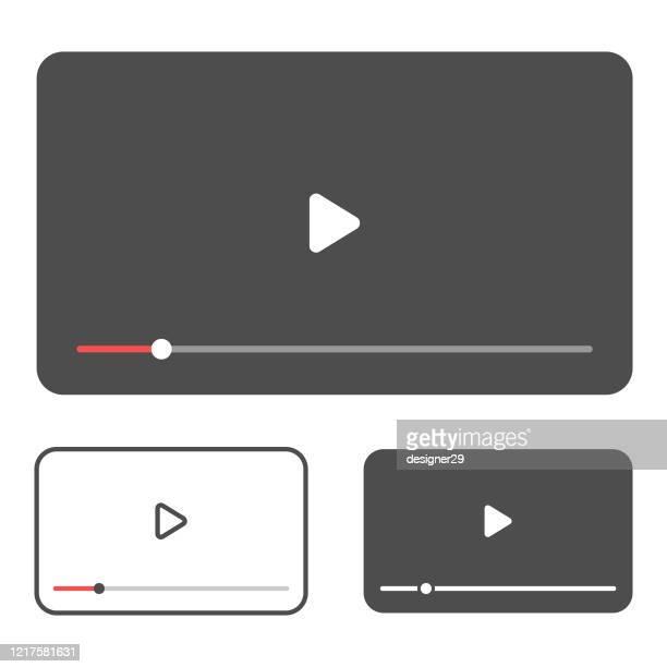 ビデオプレーヤーテンプレートアイコン。白い背景に音楽、映画、ビデオプレーヤーのベクトルデザイン。 - 静止画像点のイラスト素材/クリップアート素材/マンガ素材/アイコン素材