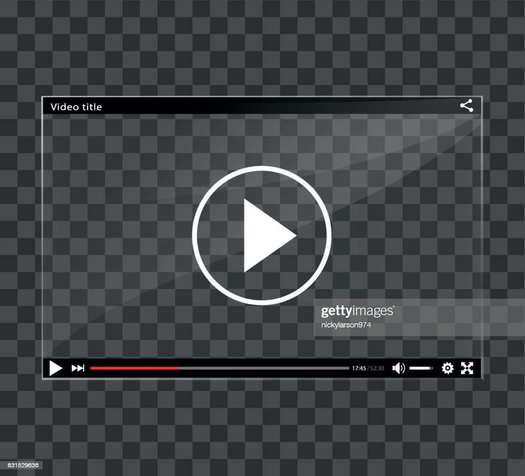 video player window on checkered background