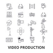 Video production, camera, editing, film, cinema, movie shoot, player line icons. Editable strokes. Flat design vector illustration symbol concept. Linear signs isolated