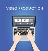 Video production computer software on laptop. videographer icon