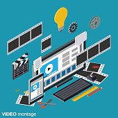 Video production, editing, montage vector concept