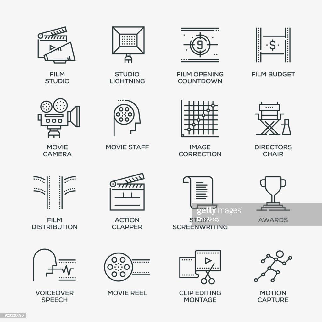 Video Production Icon Set - Line Series : Stock Illustration