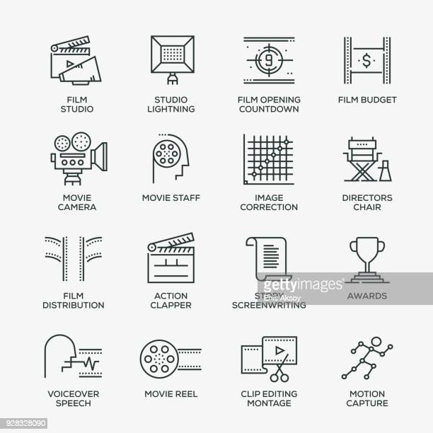video production icon set - line series - film studio stock illustrations, clip art, cartoons, & icons