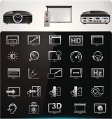 Video projector features and specifications icons