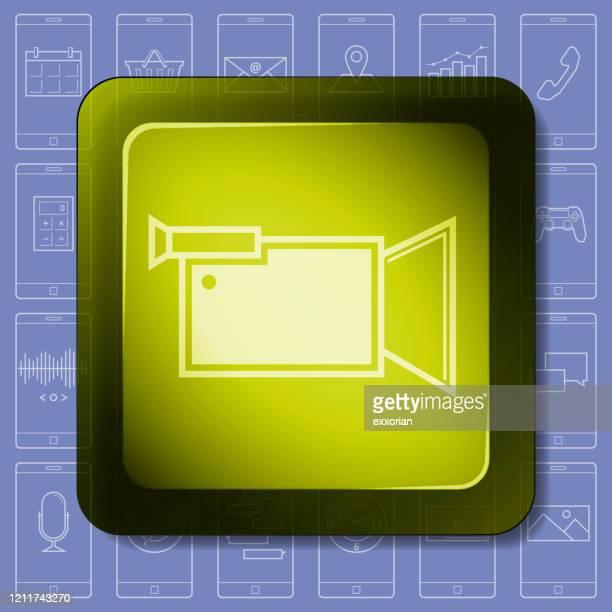video recorder smartphone app icon - wide screen stock illustrations