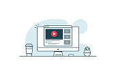 Video service concept. Computer with open browser and video player. Vector illustration in line art style