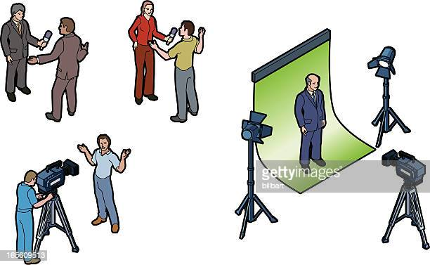 video shoot - camera stand stock illustrations, clip art, cartoons, & icons