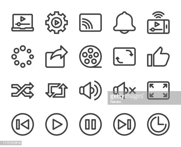 video streaming - bold line icons - shuffling stock illustrations