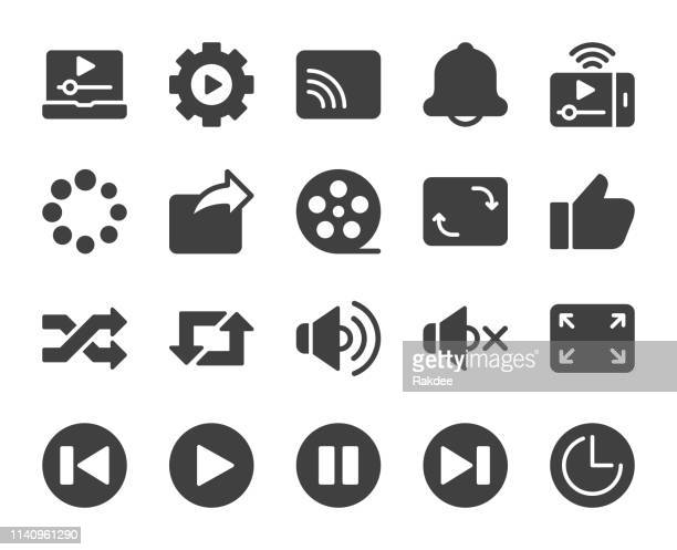 video streaming - icons - shuffling stock illustrations