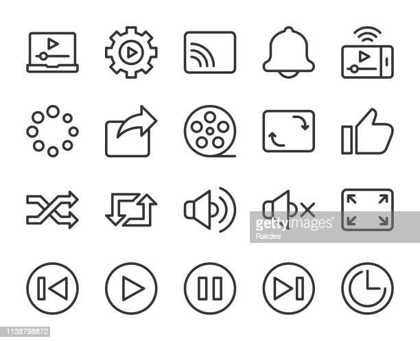 video streaming - line icons - shuffling stock illustrations