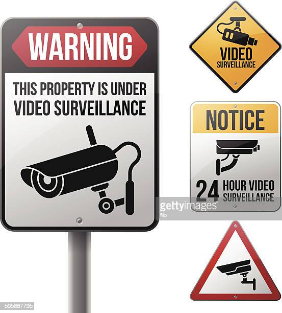 video surveillance signs - security camera stock illustrations