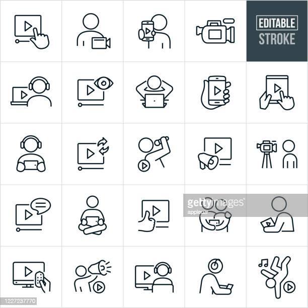ilustraciones, imágenes clip art, dibujos animados e iconos de stock de iconos de línea fina de vídeo - trazo editable - video