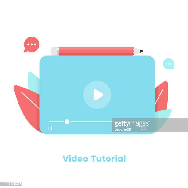 video tutorial and video player template flat design. webinar, online training and online tutorial concept vector illustration. - youtube stock illustrations