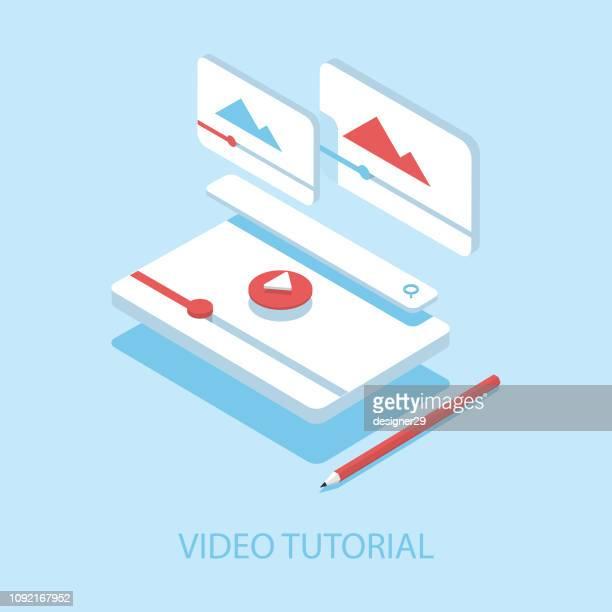 video tutorials isometric illustration and flat design. - home video camera stock illustrations
