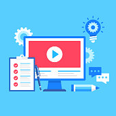 Video tutorials. Vector illustration. Webinar, online courses, online education concepts. Modern flat design. Computer with video on screen, checklist, pen, pencil, chat icon, light bulb with cog, gears etc.