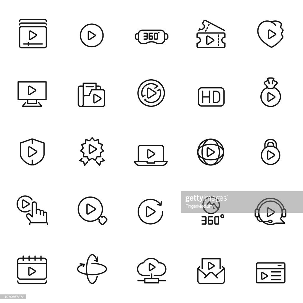 Video vector icon set : stock illustration