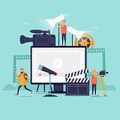 Videography, shooting film in studio. Flat design vector illustration.