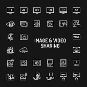 Videos & Images Sharing Simple Line Icon Set