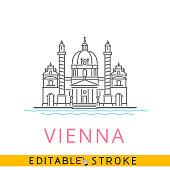 Vienna Austria, Karlskirche St. Charles Church. Easy editable stroke line icon.