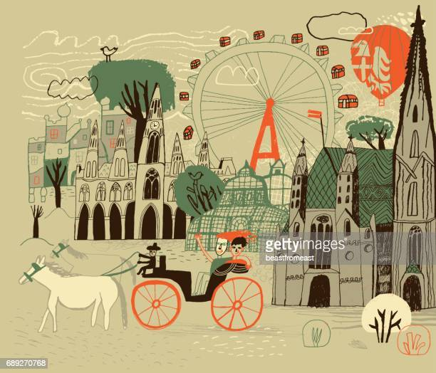 vienna in austria - horsedrawn stock illustrations, clip art, cartoons, & icons