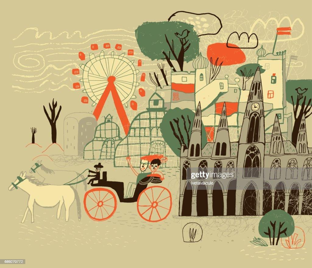 Vienna in Austria : Stock Illustration
