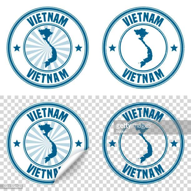 Vietnam - Blue sticker and stamp with name and map