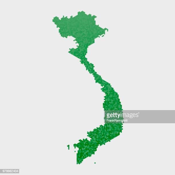 Vietnam Land Map grünen Sechseck-Muster