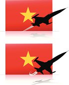 vietnam flag and jet planes