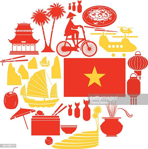 vietnam icon set - vietnam stock illustrations