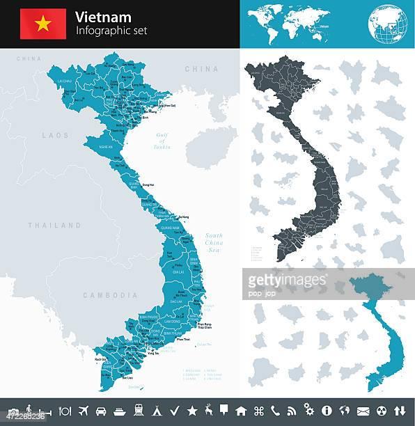ベトナム-インフォグラフィックマップ-イラストレーション - ベトナム点のイラスト素材/クリップアート素材/マンガ素材/アイコン素材