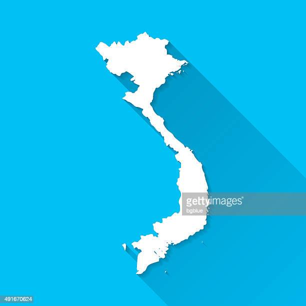 Vietnam Map on Blue Background, Long Shadow, Flat Design
