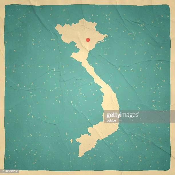 Vietnam Map on old paper - vintage texture