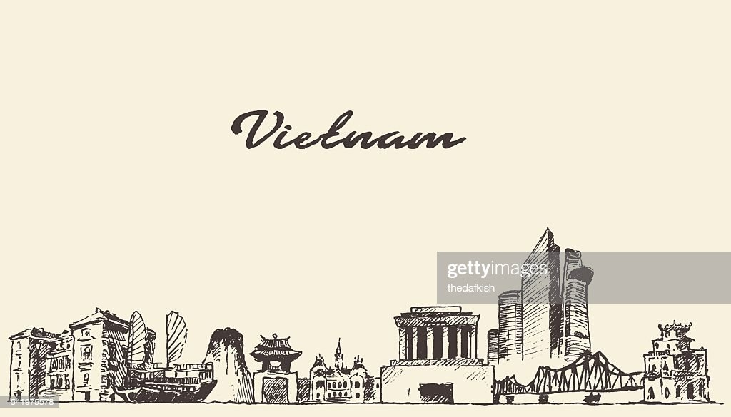 Vietnam skyline vector illustration drawn sketch