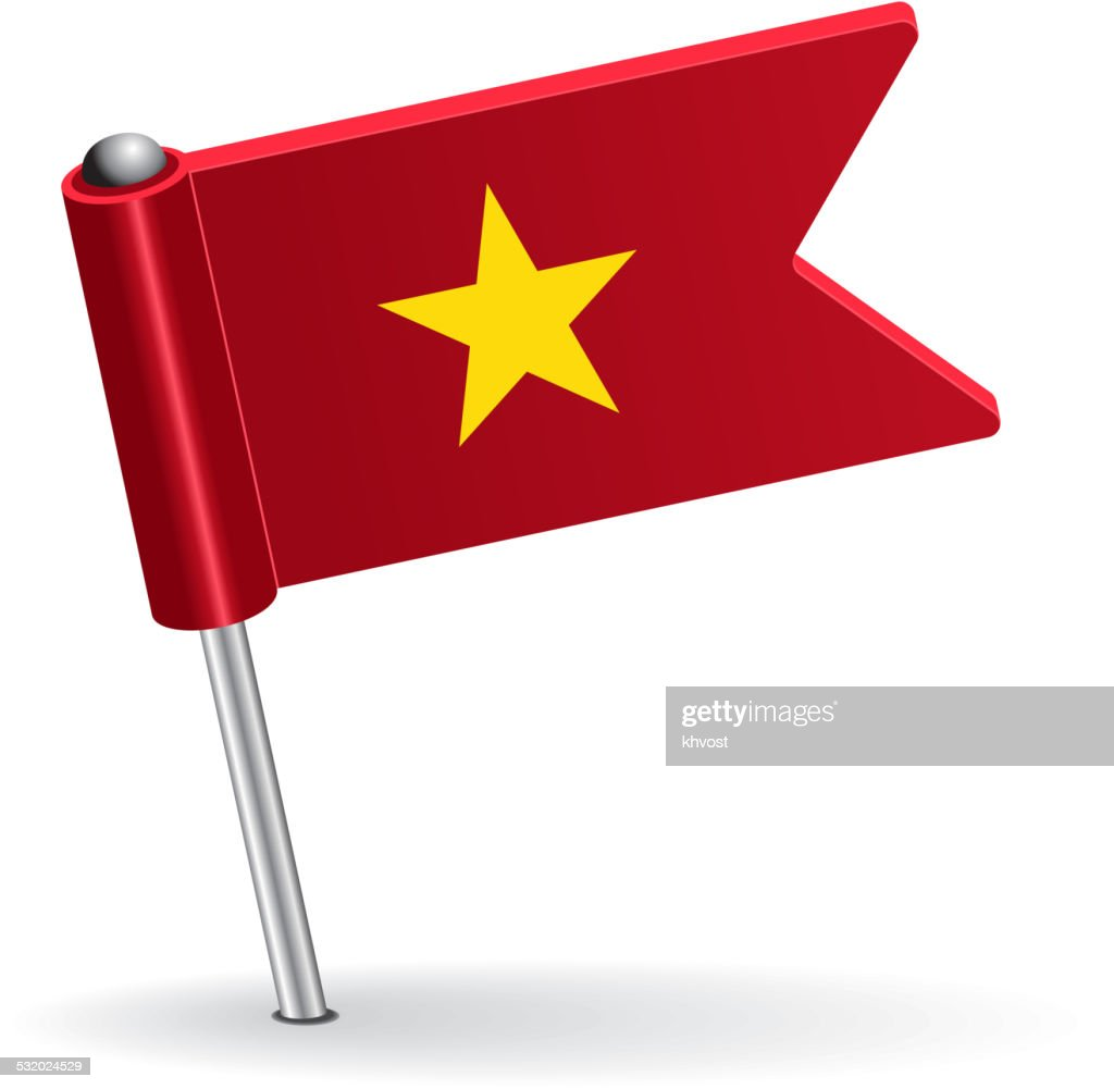 Vietnamese pin icon flag. Vector illustration
