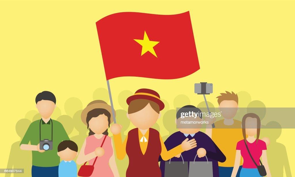 vietnamese tourists and tour guide, Inbound tourism, vector illustration