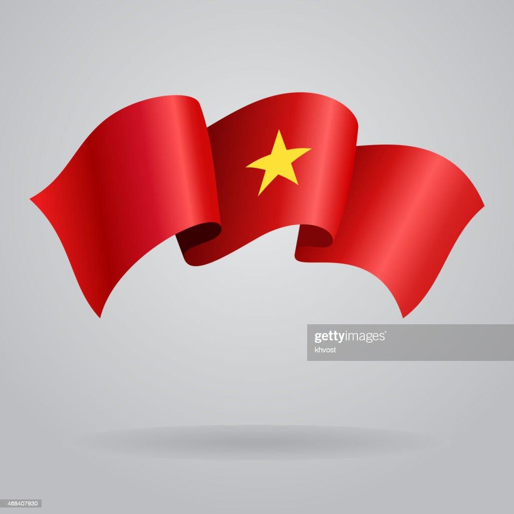 Vietnamese waving Flag. Vector illustration